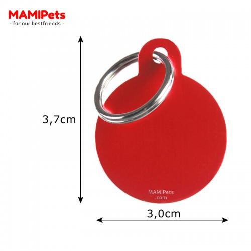 Misure Targhetta - Medaglietta Cerchio Medio Rosso