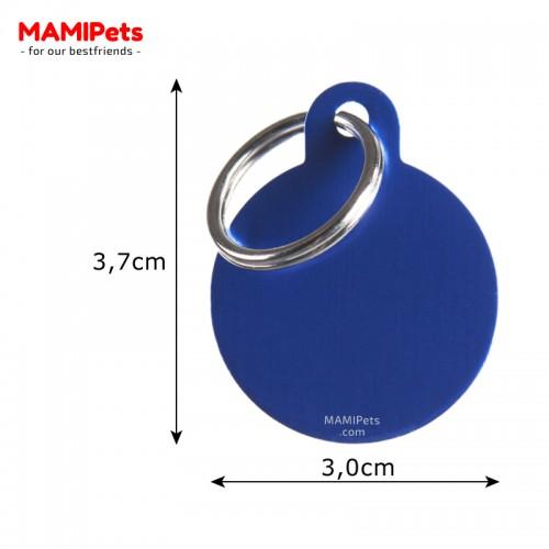 Misure Targhetta - Medaglietta Cerchio Medio Blu