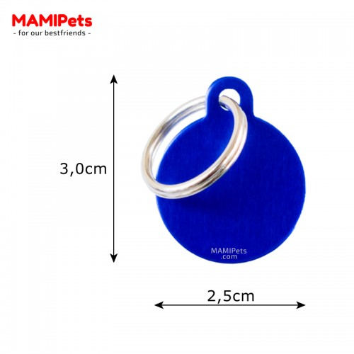 Misure Targhetta - Medaglietta Cerchio Blu Piccolo
