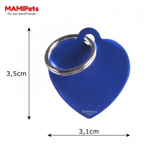 Misure Targhetta - Medaglietta Cuore Medio Blu