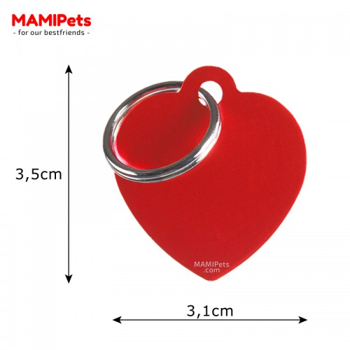 Misure Targhetta - Medaglietta Cuore Medio Rosso