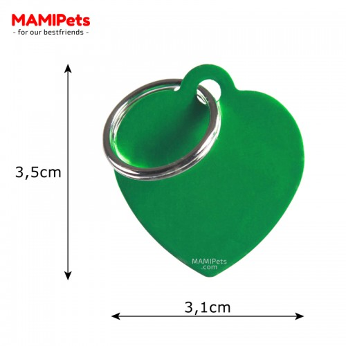 Misure Targhetta - Medaglietta Cuore Medio Verde