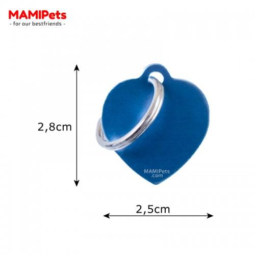 Misure Targhetta - Medaglietta Cuore Blu Piccolo