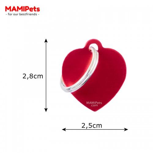Misure Targhetta - Medaglietta Cuore Rosso Piccolo