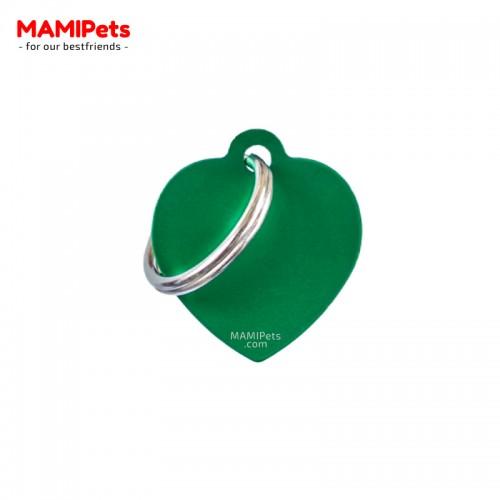 Targhetta-Medaglietta CUORE Piccolo Verde Alluminio