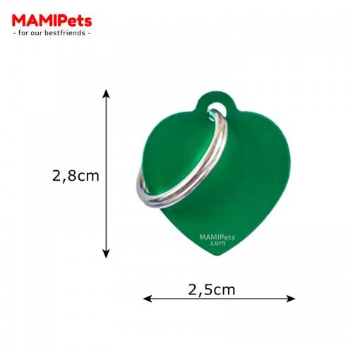 Misure Targhetta - Medaglietta Cuore Verde Piccolo