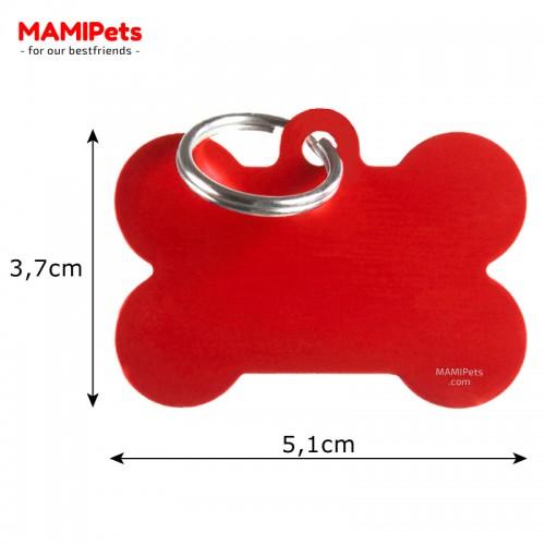 Misure Targhetta - Medaglietta Osso Grande Alluminio Rosso