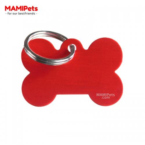 Targhetta-Medaglietta OSSO Medio Rosso Alluminio