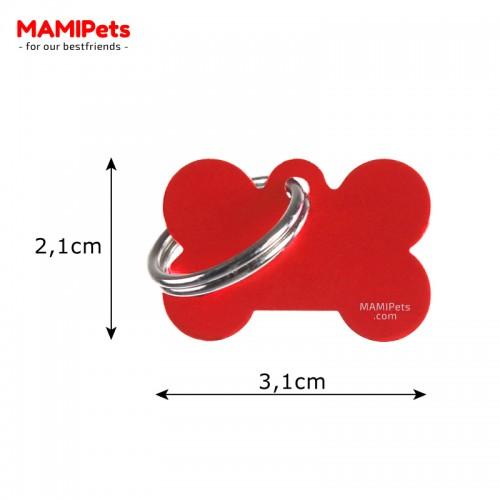 Misure Targhetta - Medaglietta Osso Piccolo Rosso