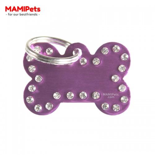 Targhetta - Medaglietta Osso CHARME Viola Alluminio