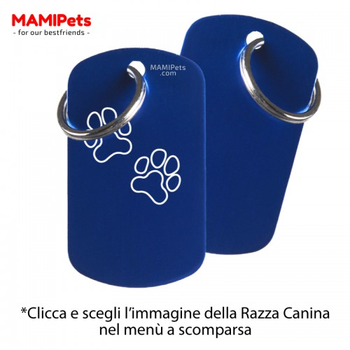 Targhetta-Medaglietta DOG DESIGN Grande Blu Alluminio