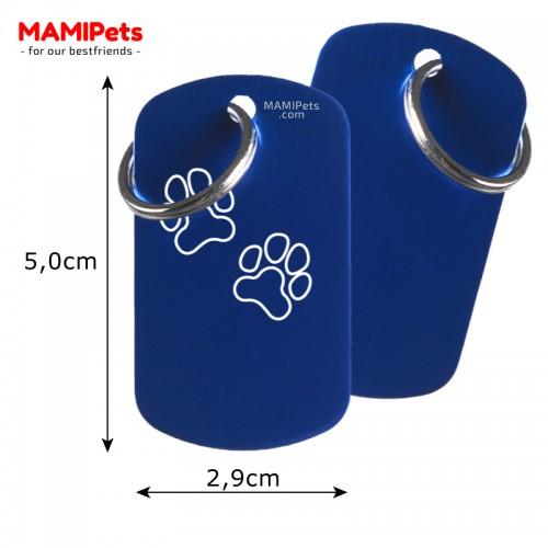 Misure Targhetta - Medaglietta Dog Design Grande Blu