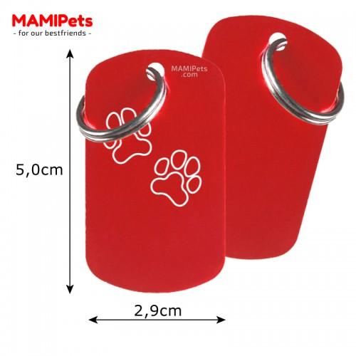 Misure Targhetta - Medaglietta Dog Design Grande Rossa