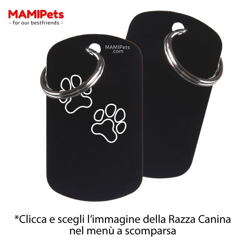 Targhetta - Medaglietta Dog Design Grande Nera