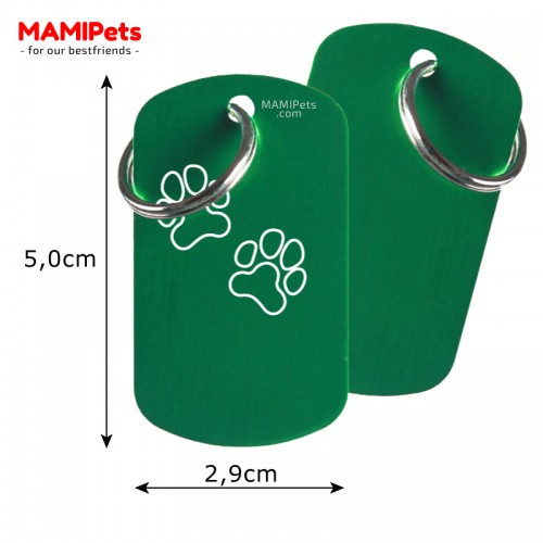Misure Targhetta - Medaglietta Dog Design Grande Verde