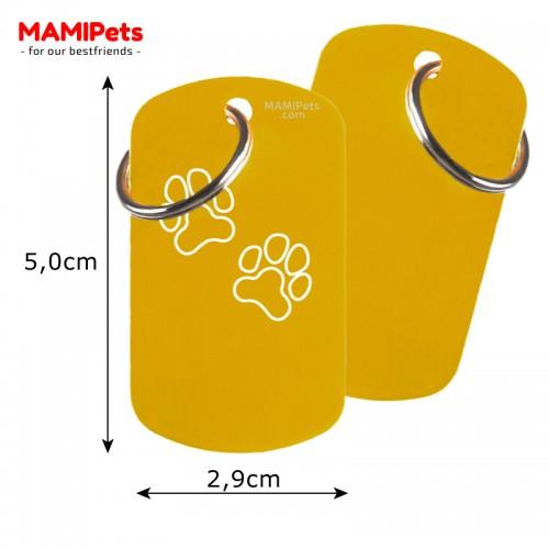 Misure Targhetta - Medaglietta Dog Design Grande Oro