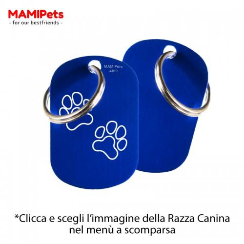 Targhetta-Medaglietta DOG DESIGN Media Blu Alluminio