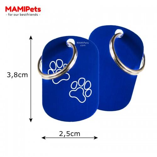 Misure Targhetta - Medaglietta Dog Design  Media Blu