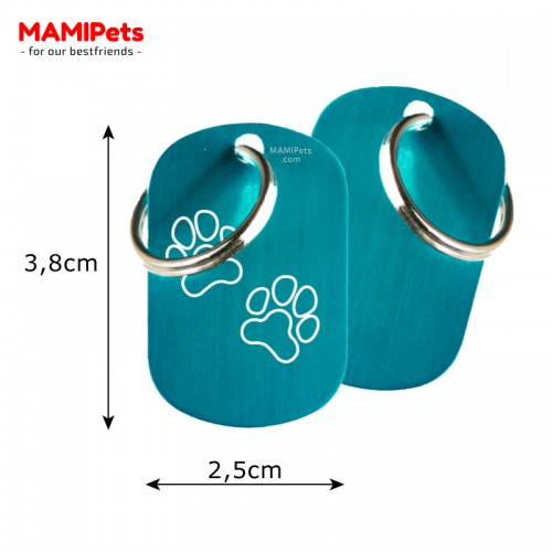 Misure Targhetta - Medaglietta Dog Design  Media Celeste