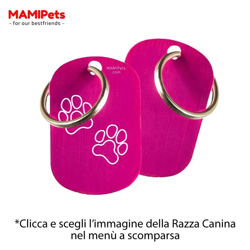Targhetta - Medaglietta Dog Design  Media Fucsia