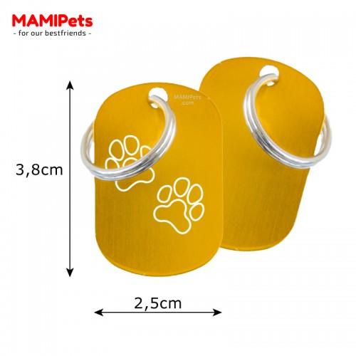 Misure Targhetta - Medaglietta Dog Design  Media Oro