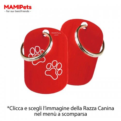 Targhetta-Medaglietta DOG DESIGN Media Rossa Alluminio