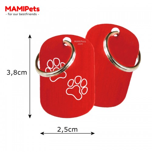 Misure Targhetta - Medaglietta Dog Design  Media Rossa