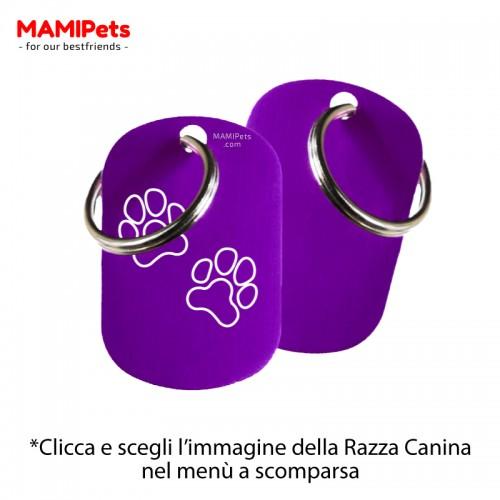 Targhetta-Medaglietta DOG DESIGN Media Viola Alluminio