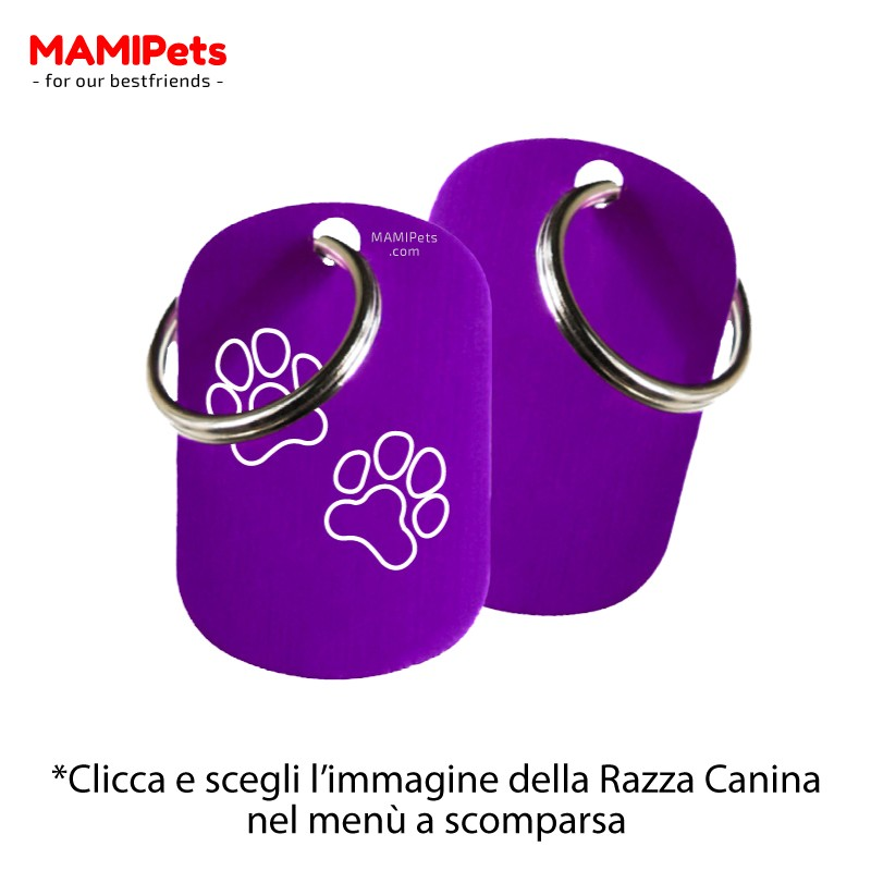 Targhetta - Medaglietta Dog Design  Media Viola