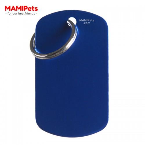 Targhetta-Medaglietta PIASTRINA Grande Blu Alluminio
