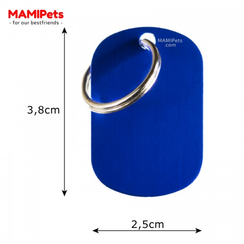 Misure Targhetta - Medaglietta Piastrina Blu Media Alluminio