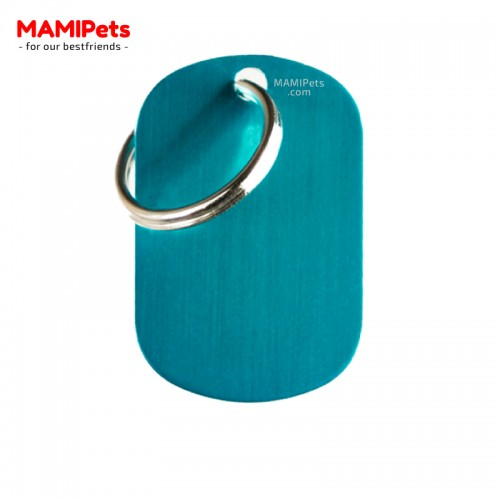 Targhetta-Medaglietta PIASTRINA Media Celeste Alluminio