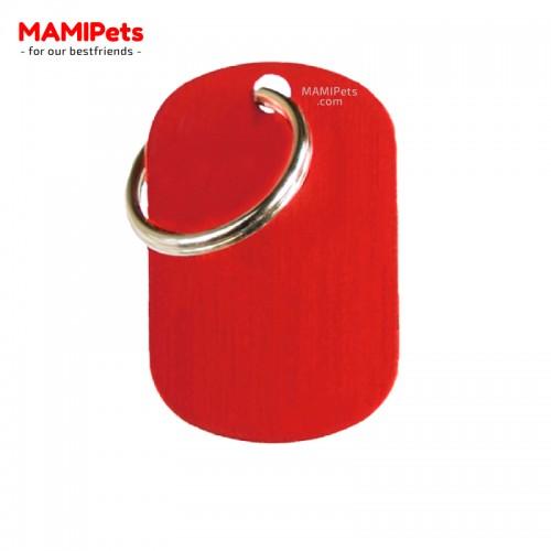 Targhetta-Medaglietta PIASTRINA Media Rossa Alluminio