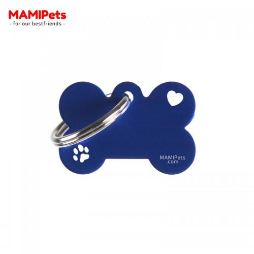 Targhetta-Medaglietta Osso SPECIAL DESIGN Piccola Blu Alluminio