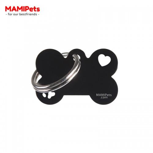 Targhetta-Medaglietta Osso SPECIAL DESIGN Piccola Nera Alluminio