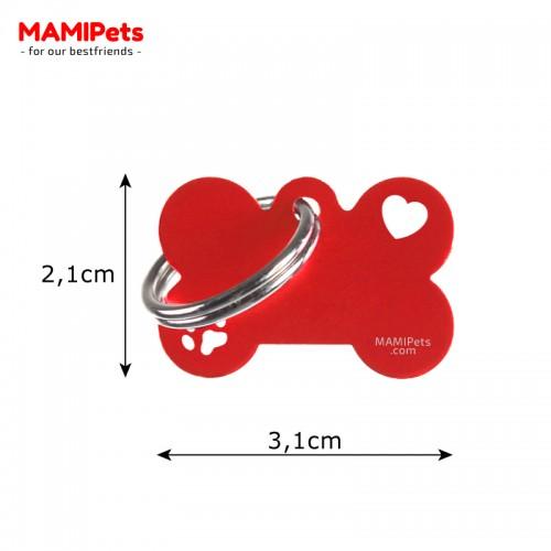 Misure Targhetta - Medaglietta Osso Piccolo Special Design Rossa
