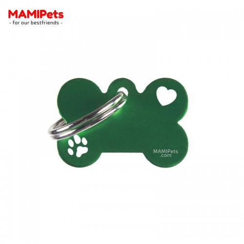 Targhetta-Medaglietta Osso SPECIAL DESIGN Piccola Verde Alluminio