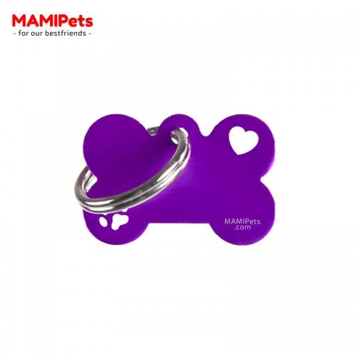 Targhetta-Medaglietta Osso SPECIAL DESIGN Piccola Viola Alluminio