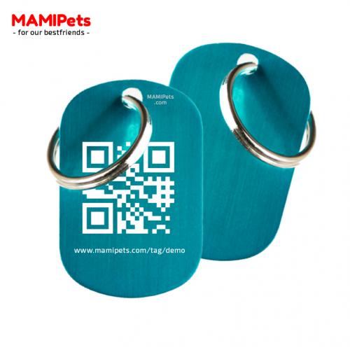 Medaglietta QR-Code Media Celeste Alluminio
