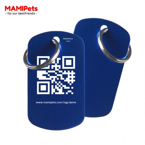 Medaglietta QR-Code Grande Blu Alluminio