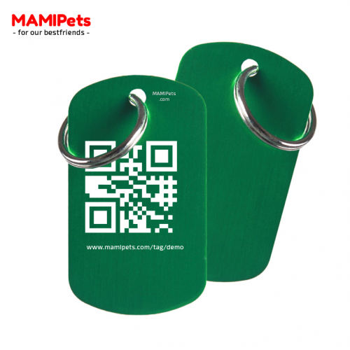 Medaglietta QR-Code Grande Verde Alluminio